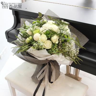 上海武汉南京鲜花速递同城花店送花七韩式玫瑰花绣球花束夕节礼物