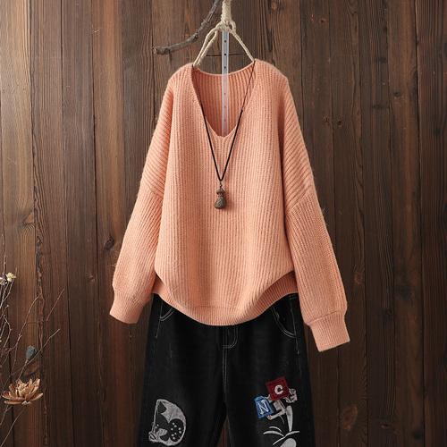 文艺范纯色针织衫毛衣女宽松大码蝙蝠袖上衣V领套头打底衫秋冬款