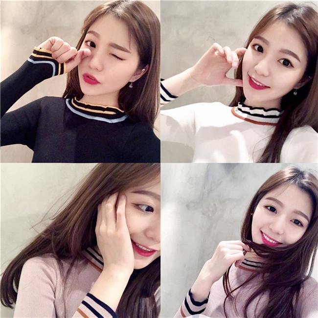 秋季新款女装韩国chic半高领撞色长袖针织衫修身百搭打底套头毛衣