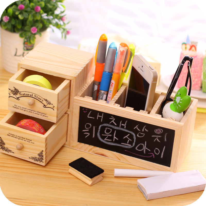 木质实用插槽笔筒创意多功能带留言黑板摆件木制儿童玩具厂家
