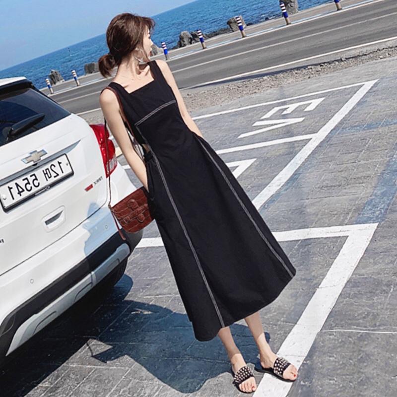 夏季裙子仙女超仙森系背带裙长款过膝减龄高腰显瘦洋气心机连衣裙