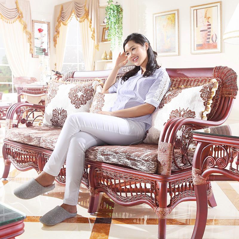 依藤乐家美式客厅藤沙发组合三人藤编沙发别墅室内藤椅沙发五件套