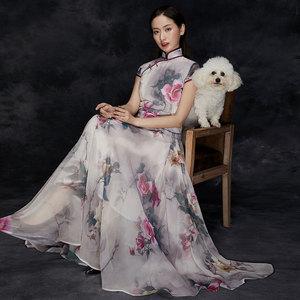 旗之韵原创中式改良套装大摆旗袍长款裙*桃之妖 修身复古仙女旗袍