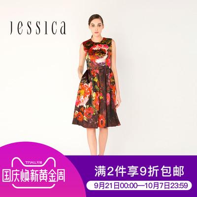 杰西卡JESSICA初秋新款女 复古洋气油画印花连衣裙伞裙高腰款口袋