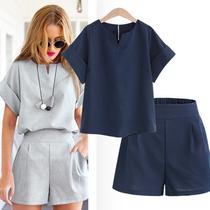 欧美加肥加大码女装两件套胖mm夏季宽松t恤阔腿短裤休闲套装200斤