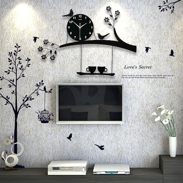北欧简约家用个性客厅挂钟时尚简约钟表现代静音创意石英钟鸟时钟