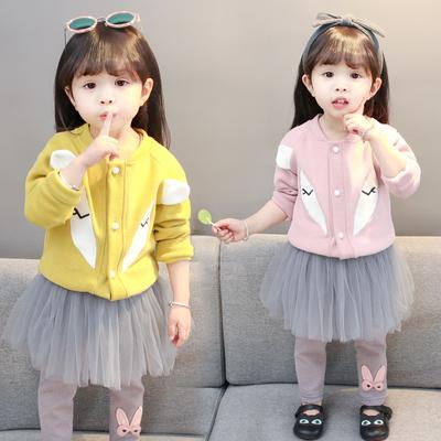 2018新款韓版女童春季外套3嬰兒童裝4寶寶春秋長袖兩件套裝1一2歲