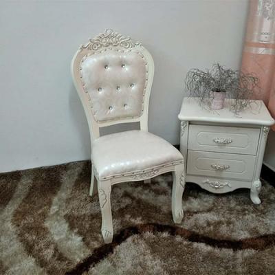 欧式餐椅韩式现代简约实木软包布艺象牙白色酒店美甲椅子梳妆凳子新款推荐