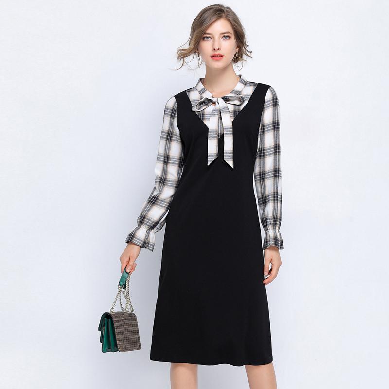 茵牵大码女装遮肚公主裙2019新款秋装收腰显瘦减龄洋气格子连衣裙