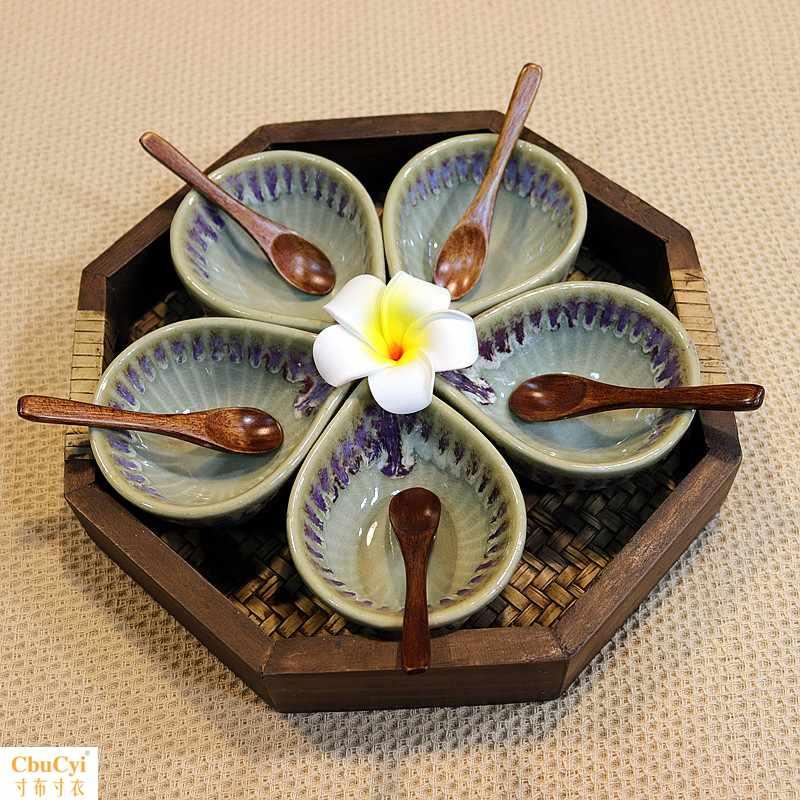 泰式陶瓷精油碟调膜碗精油碟盘美容院spa碟子+美容木质托盘套