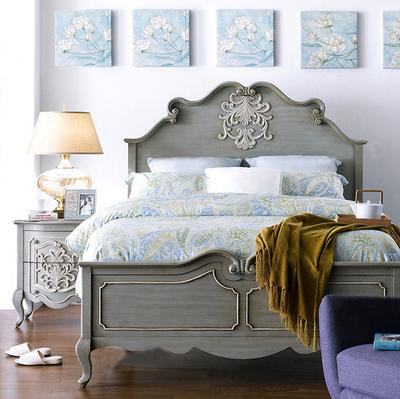 美式实木雕花床 法式时尚复古做旧公主床1.8米 欧式地中海双人床哪里购买