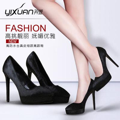 羿萱18年春秋新款女鞋欧美细跟浅口尖头单鞋黑色马毛性感高跟鞋