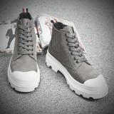 马丁靴男秋冬季中帮短靴子英伦复古沙漠工装鞋切尔西靴高帮棉鞋潮
