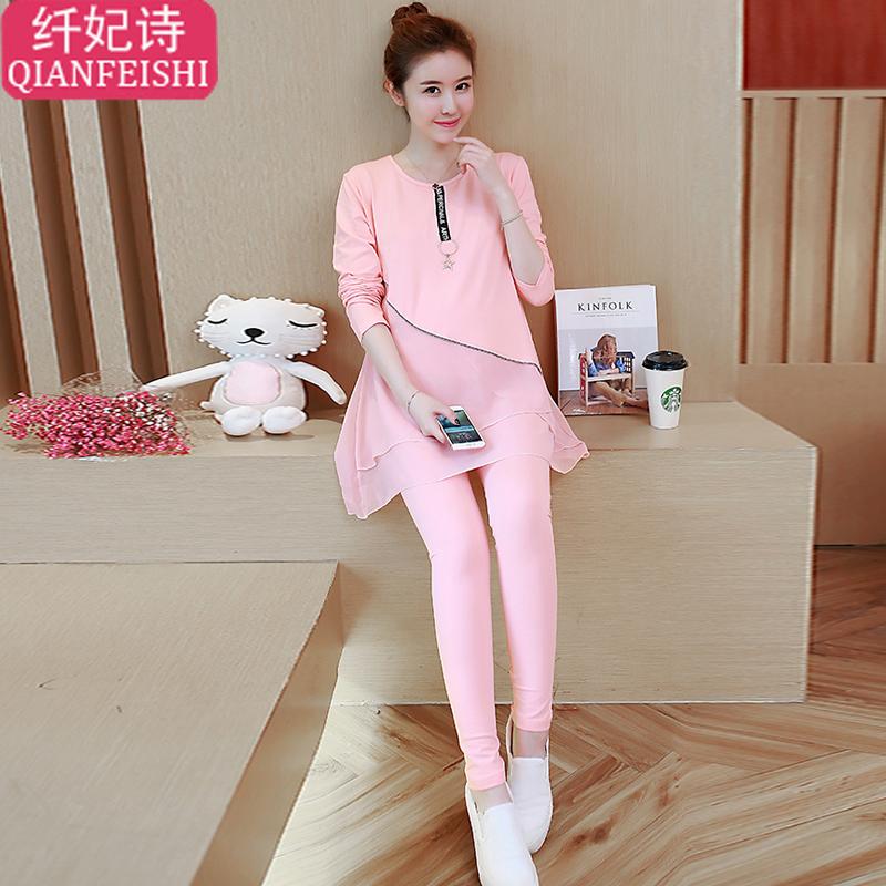 孕妇春装套装时尚款2018新款韩版拼接雪纺上衣休闲套装潮妈两件套