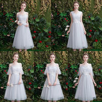Grey bridesmaid dress 2019 new spring and summer Korean version of bridesmaid wedding sisters skirt girlfriends small dress female long section