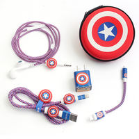 Apple data cable protector charger mobile phone storage artifact headset winding rope cute creative stickers