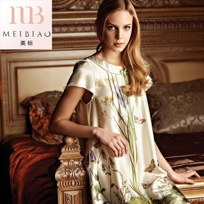 美标新款夏季女士短袖真丝公主睡衣100%桑蚕丝丝绸睡裙宽松家居服