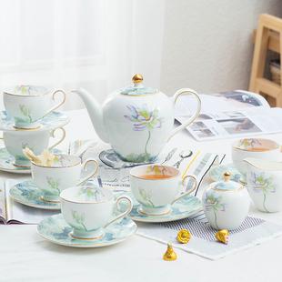 15头高档骨瓷咖啡具套装英式下午红茶具咖啡杯碟陶瓷套装 带茶滤