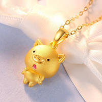3D hard gold 12 Zodiac pig necklace female pig pendant gold clavicle chain gold necklace this year to send his girlfriend