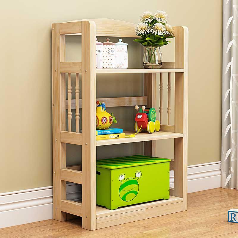 简易书架组合实木置物架现代简约创意落地学生儿童多层小书柜书架