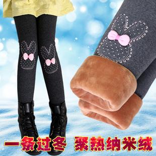 纯棉女童装加绒靴裤2017棉裤纳米绒保暖新款铅笔加厚冬一体长裤打