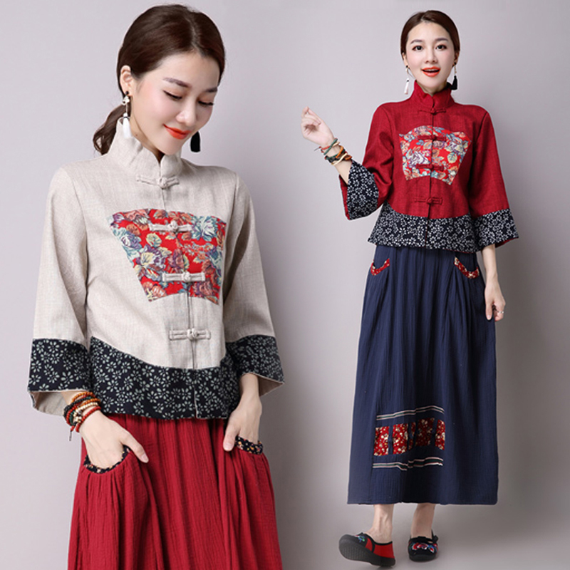 spring and autumn new ethnic style women's retro Chinese style splicing loose modified Tang Dynasty