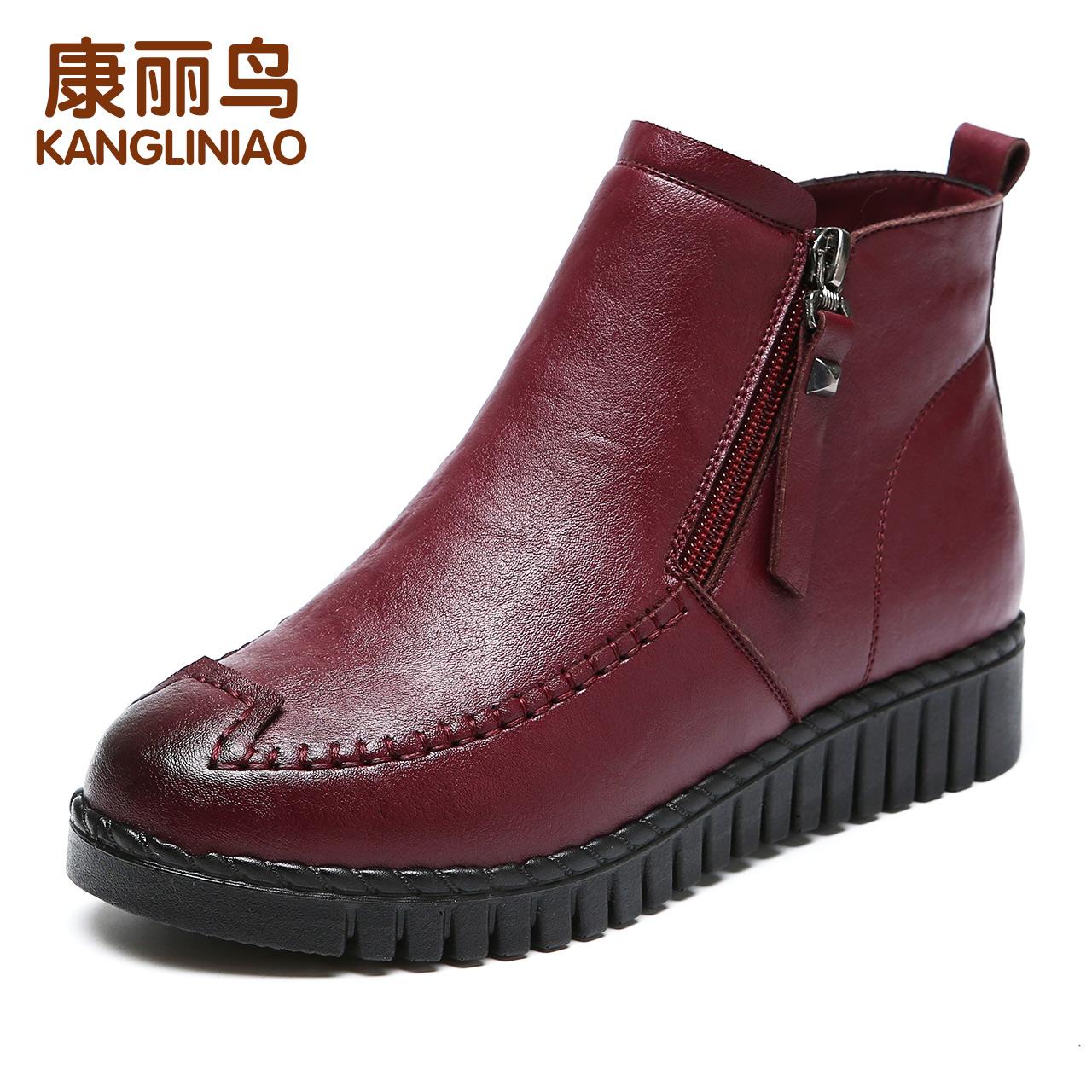 冬季妈妈鞋棉鞋短靴保暖加绒平底软底防滑舒适中老年人皮鞋女鞋子