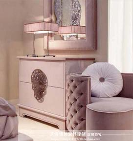 儿童卧室家具公主套房家具斗柜床边柜储物柜收纳柜欧式实木玄关柜