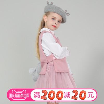 儿童秋装女童套装喇叭袖口长袖洋气衬衫开叉毛衣马甲三件套半身裙