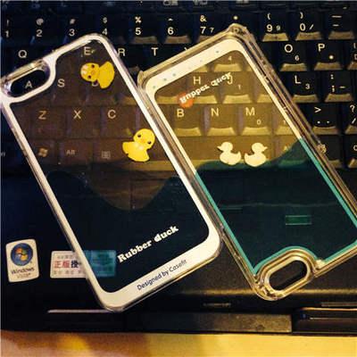 韩国液体流水鸭iphone6 case手机壳亚克力透明plus保护壳适用于5S