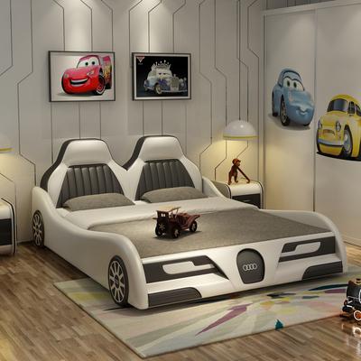 创意汽车儿童床卡通跑车男孩女孩带护床栏真皮床1.2米1.5米储物床官方旗舰店