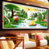 Pure hand-made cross-stitch finished products welcome guests Song Caiyun 2-meter living room landscape painting for sale has been embroidered