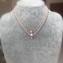精致 2mm小珍珠搭配10mm顆粒粉珠時尚 天然珍珠項鏈1