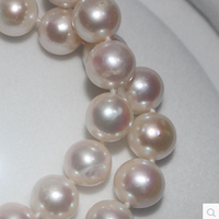 Genuine fake one lost ten natural pearl necklace 10-11mm near round very strong light micro-send to send mother mother-in-law gift