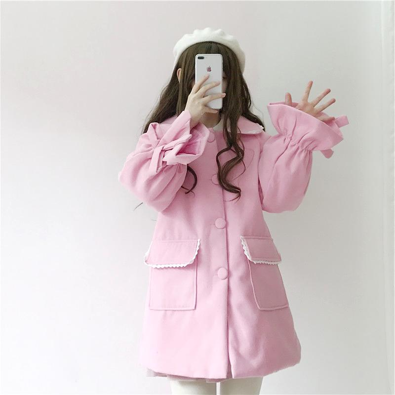 粉嫩呢大衣