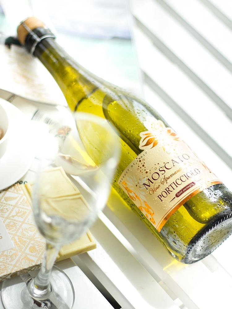 原瓶进口莫斯卡托女生干红酒冰甜葡萄酒汽气泡酒起泡酒无香槟酒杯