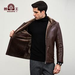 兽王秋冬新款皮毛一体男士加厚海宁真皮皮衣羊羔毛皮夹克男装外套