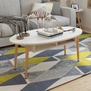 北欧实木小茶几会客简易简约沙发客厅小户型茶桌椭圆形茶几小桌子