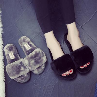 棉拖鞋女厚底冬季居家居室内木地板月子毛绒一字拖毛毛拖鞋女冬天
