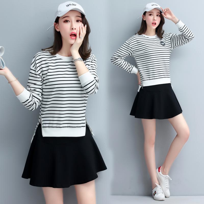 春秋运动套裙两件套时尚网球服短裙套装条纹显瘦卫衣休闲套装裙