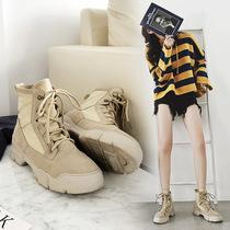 情侣靴子马丁靴复古男女白色学生马丁靴中筒靴情侣靴子