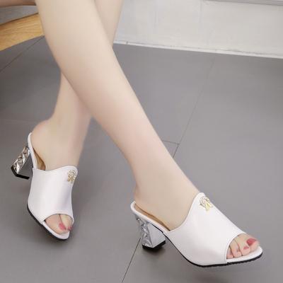 2018夏季凉拖女粗跟韩版百搭时尚高跟性感凉拖鞋中跟鱼嘴露趾女鞋