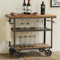 移动餐车置物架实木推车欧式白色酒水车蛋糕厨房家用茶水车餐边桌