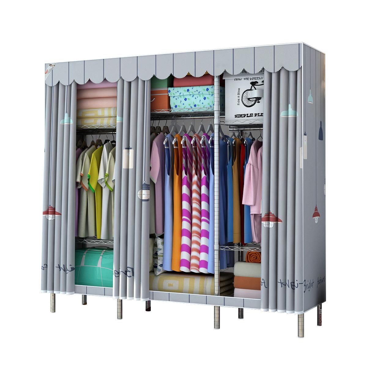 简易布衣柜布艺双人不锈钢管加厚加粗加固全钢架收纳挂衣柜子家用