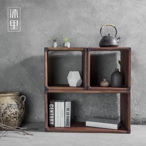 沐里|如泓组合柜|白橡黑胡桃实木书柜榫卯自由储物收纳单个柜子