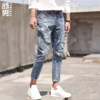 Summer men's hole jeans loose trend nine pants men's straight slim Slim feet 9 points pants