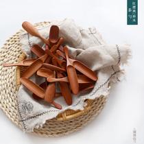 茶匙丨手工木质茶勺茶铲 日式长手柄樱桃木小茶勺 茶叶茶道木勺子