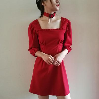 蜜法糖心原创设计|少女复古红色荷叶边方领收腰显瘦泡泡袖连衣裙