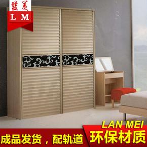 定做推拉移门塑钢百叶门木塑壁橱玻璃滑动百页卧室新款现代衣柜门