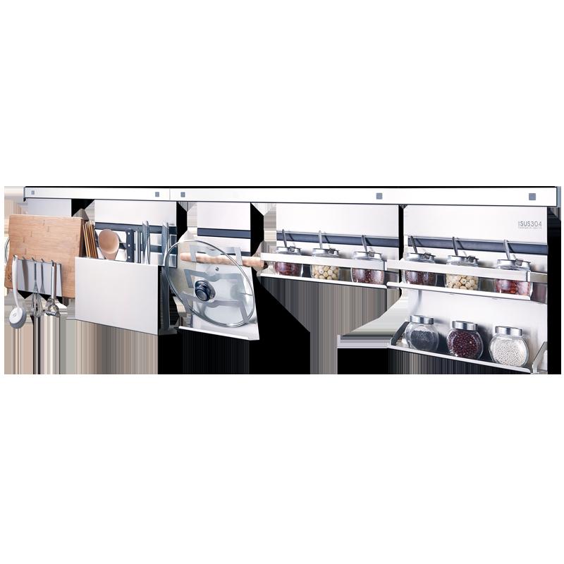 免打孔多功能厨房置物架组合套装304不锈钢收纳壁挂五金挂件刀架
